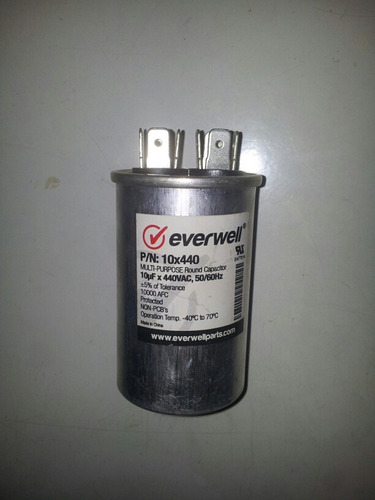 capacitador de arranque marcha 440v 10 mfd everwell nuevo