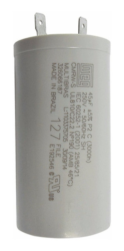 capacitor 45uf 250vac universal para lavadora de roupas