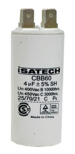 capacitor de marcha 4uf microfaradios 400v 50/60hz isatech