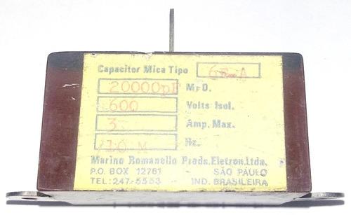 capacitor mica torre 20000pf, 600v, 3a frequência 30 mhz
