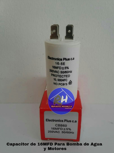 capacitor para bomba de agua 16uf en 250vac