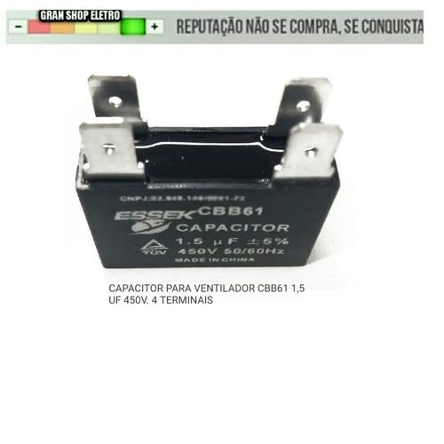 capacitor para ventilador 1.5uf 450v 4 terminais