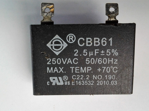 capacitor ventilador, 2.5mf