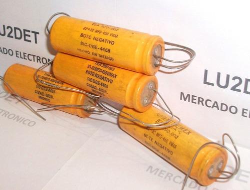capacitores electroliticos 32 + 32 mf x 450 volts spraguemex