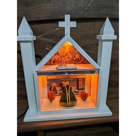 Capela Nossa Senhora Aparecida Iluminada Em Led Com Fonte