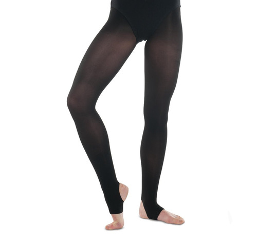 capezio mallas negras hold and stretch de estribo para niñas