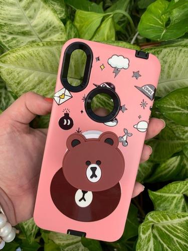 capinha case modelo moto one urso com acessório selfie rosa