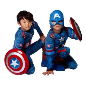 Capitan America Disfraz Niño Avenger Musculos Mascara Escudo