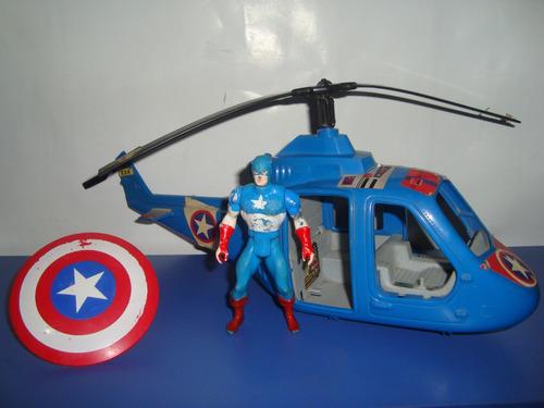 capitan america - escudo, figura, helicoptero 70-80 - marvel