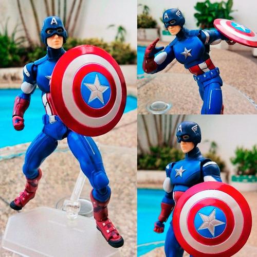 capitan america figura articulable 16cm / 100% nueva en caja