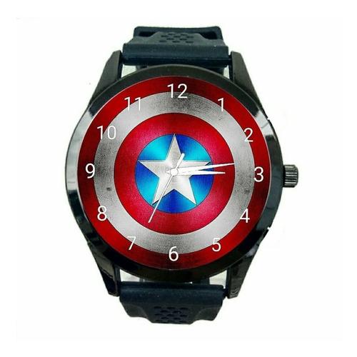 capitão america relógio unissex marvel escudo quadrinho t525