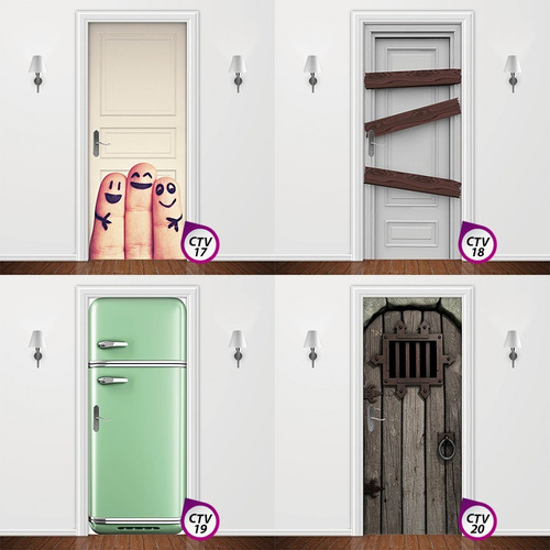 capitone branco - adesivo para porta quarto sala madeira