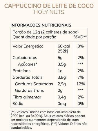 Resultado de imagem para tabela nutricional cappuccino holy nuts