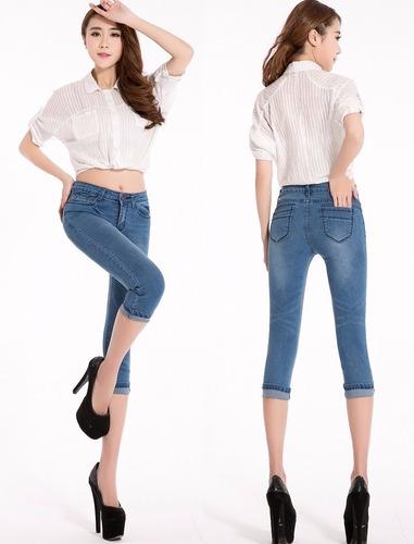 capri mezclilla stretch moda asiatica talla 11