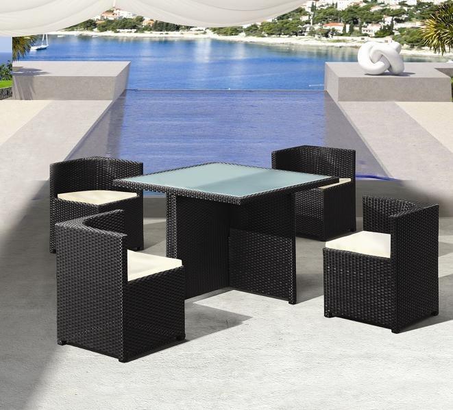 Capri set by promobel mesa comedor de ratt n sint tico for Muebles de exterior de rattan