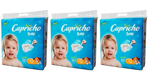 capricho baby super jumbo fralda infantil g c/80 (kit c/03)