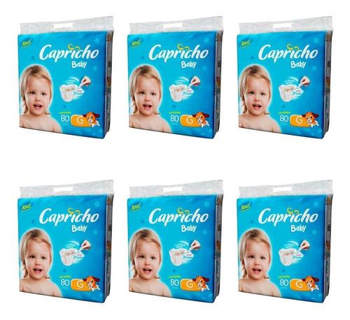 capricho baby super jumbo fralda infantil g c/80 (kit c/06)