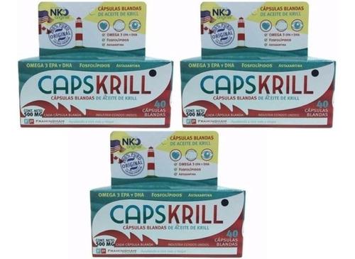 capskrill omega 3 aceite de krill 40 caps x 3unid (120 caps)