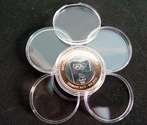 capsula de acrilico para moedas das olimpiadas - 27 mm