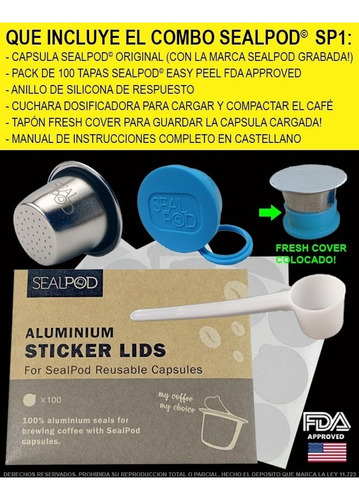 capsula recargable nespresso de acero inoxidable sealpod