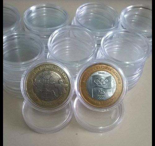 cápsulas acrilico - p / moeda 1real