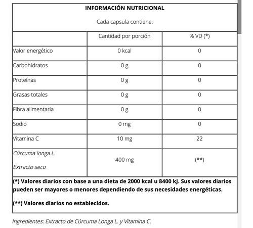 cápsulas cúrcuma concentrada x 50 capsulas - natier