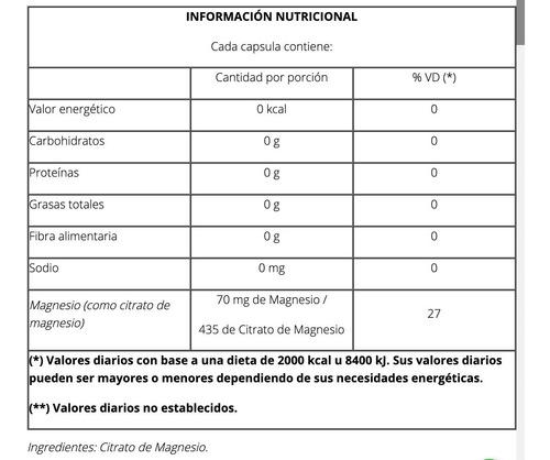 cápsulas magnesio máxima absorción x 50 - natier