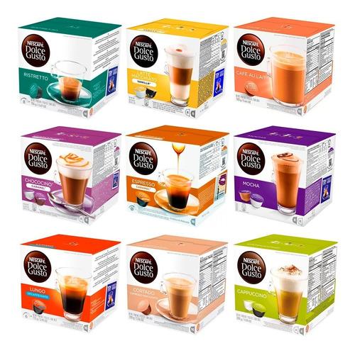 cápsulas nestlé dolcegusto x 16 unidades distintos sabores