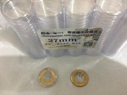 capsulas pccb 27mm para moedas de 1 real (qtde. 2 x 100)