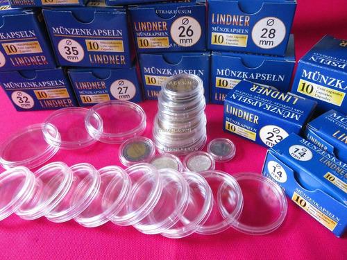 capsulas protectoras lindner de monedas 14 a 41 mm x unidad