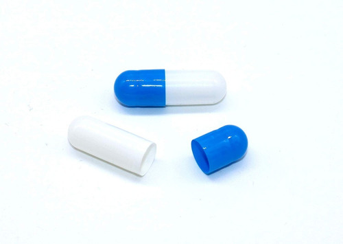 cápsulas tamaño 0 de gelatina vacías azules y blanco 1000 ud
