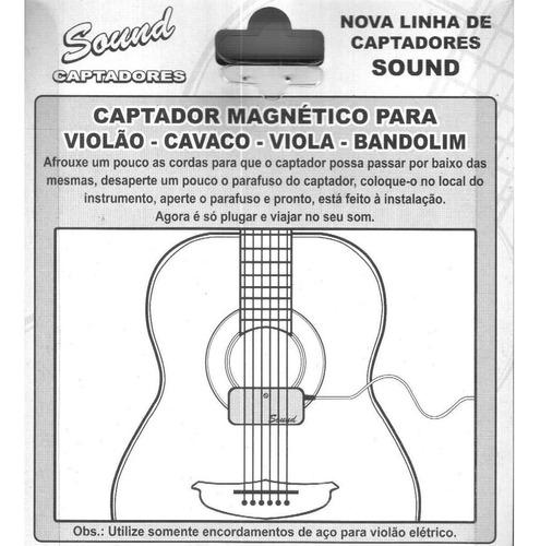 captador magnético cristal de encaixe p/ violão viola cavaco