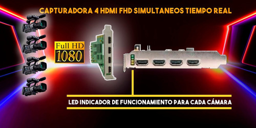 capturadora de video 4 hdmi para vmix, wirecast, vjdirector