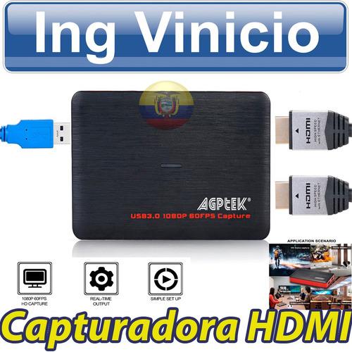 capturadora de video hd agptek hdmi 1080p usb 3.0 streaming