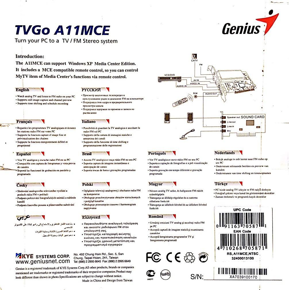 GENIUS TVGO A11MCE DRIVERS FOR MAC DOWNLOAD
