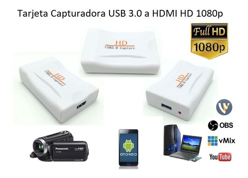 capturadora hdmi usb video full hd 1080 laptop pc smartphone