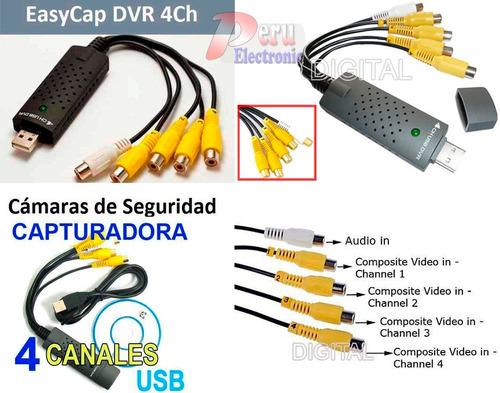 capturadora usb camaras dvr  4 canales audio y video