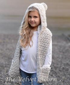 envío gratis eb609 198ac Capucha Gorro Con Bufanda Tejido Crochet Infantil