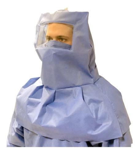 capucha sanitaria con visor tipo verdugo de sms y acetato