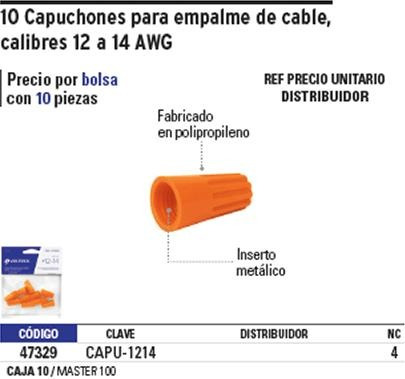 capuchon cable 12-14 awg 10 pz naranja voltech 47329