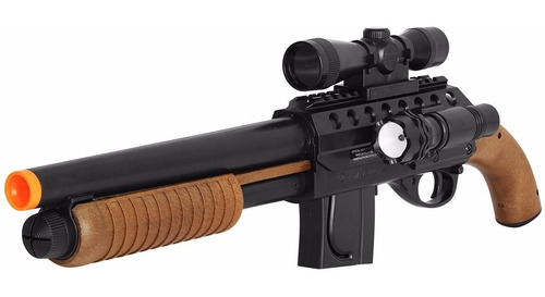 carabina airsoft shotgun m3000 - 6mm + lanterna