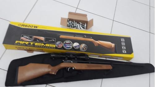 carabina co2  cr600w 4,5mm 9 tiros madeira leia o anuncio