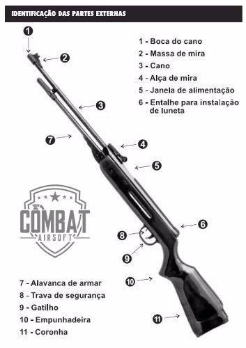 carabina espingarda chumbinho west fixxar madeira 5.5mm