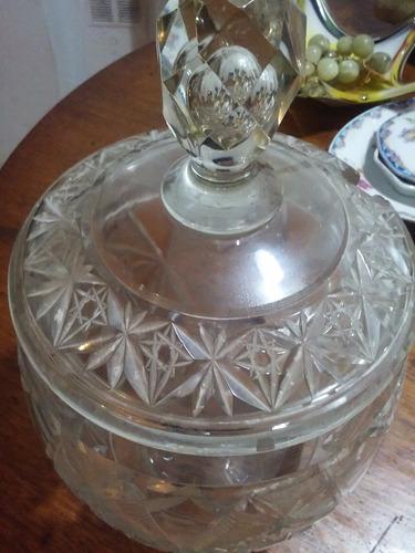 caramelera de cristal tallado transparente antigua!!!!!!!!!!