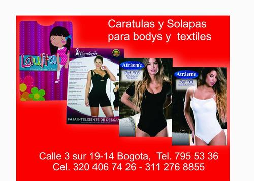 caratulas para body y solapas para textiles