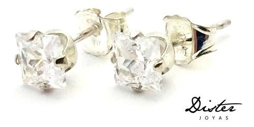 caravana de plata con zirconia cuadrada 4mm - dister joyas