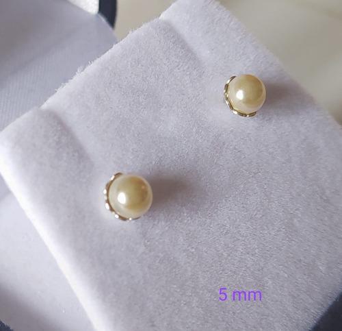 caravanas de plata 925 con perlas de mallorca 6 mm rosca