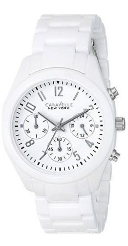 caravelle new york de bulova reloj blanco análogo del cuarzo
