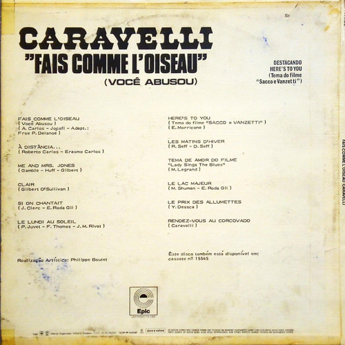 caravelli lp 1973 fais comme l' oiseau voce abusou 11882