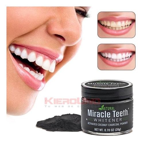 carbón coco blanqueamiento dental 100% natural organico